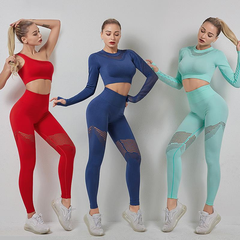 Set de yoga conjunto de yoga de manga larga sin fisuras, gimnasio, gimnasio, ropa de legging, cintura alta, color, deporte, ropa ajustada, yoga, traje transpirable y201015