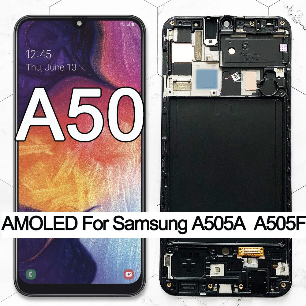 """100% Super AMOLED 6.4"""" LCD For Samsung galaxy A50 2019 A505F/DS A505F A505FD A505A Touch Screen Digitizer Assembly with frame"""