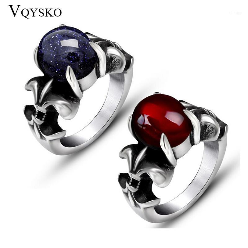 Cluster Ringe Retro Männer und Frauen Titan Stahl Ring mit Klaue Blau Rot Opal Edelstein Verkauf Schmuck Zubehör Für Geschenk1
