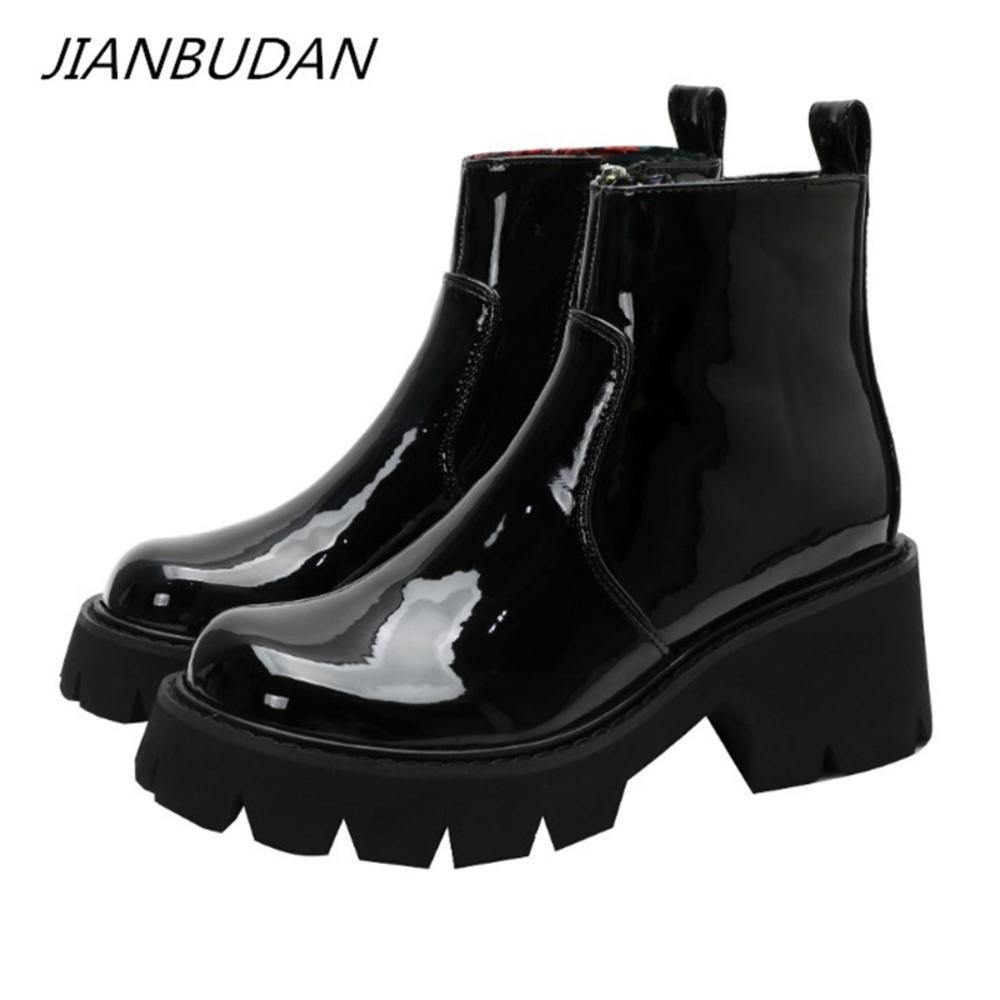 Jianbudan منصة جلد أسود Laarzen Herfst النساء أزياء Zip أحذية مفردة Lacleer High Hook Motorboots 35-40