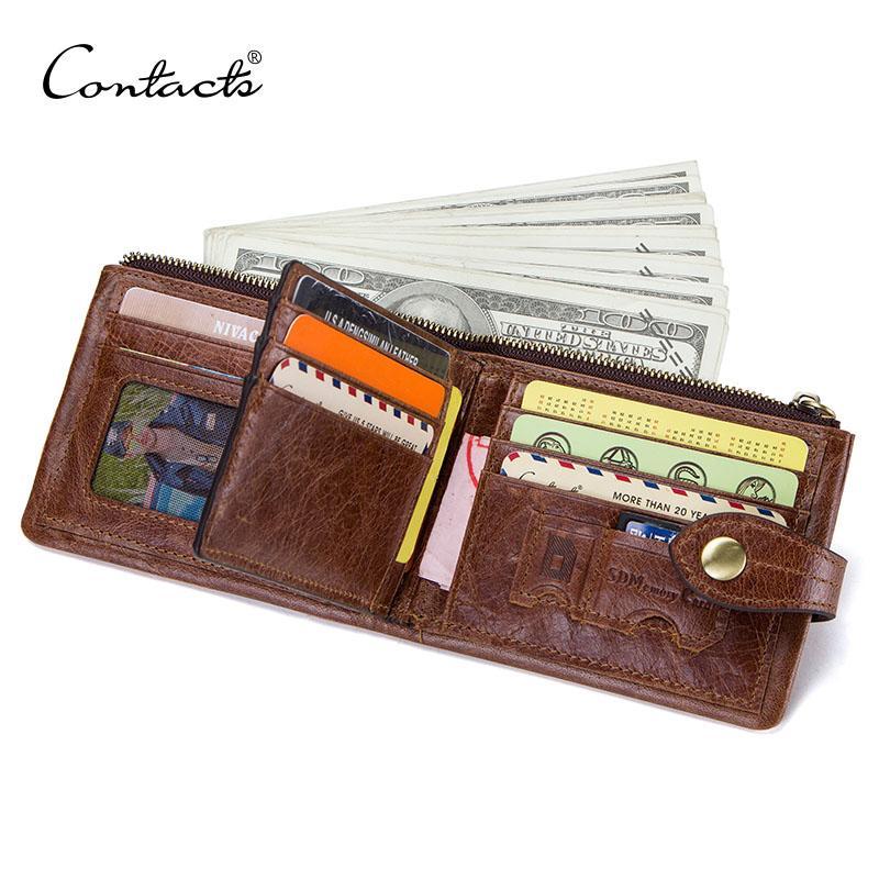 Contact's Echtes Leder Brieftasche Für Männer Karteninhaber Männer Kurze Brieftasche Freizeit Geldbörse Kleine Walet Cartesira Masculina Mens Cuzdan
