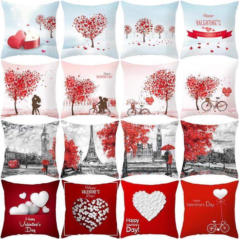 45 * 45cm Amor del árbol Estampado de árbol de San Valentín Cajas de almohada del día de San Valentín Cubierta de cojín de cintura Boda Sofá cama Funda de almohada Polyester Cuadrado Forma Decoración para el hogar
