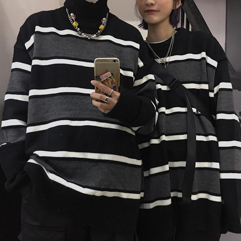 Erkek Yeni Japon Kazak Yuvarlak Boyun Retro Örgü Kazak Erkek Çizgili Kazak Yüksek Boyun Harajuku Kore Moda Streetwear