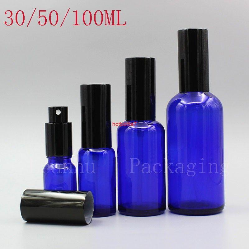 Botella de perfume de vidrio azul con spray, envases cosméticos vacíos, botella de spray de viaje, ajuste de aceite esencial recargable SprayHigh Qualtitt