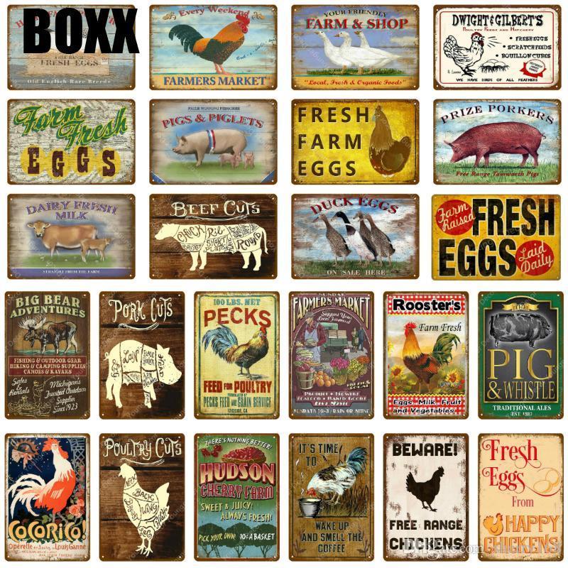 Frische Hühnchen Ente Eier Schwein Schweinefleisch Kuh Rindfleisch Milch Hahn Metall Zinn Zeichen Wand Poster Malerei Plaque Home Store Shop Farm Dekor