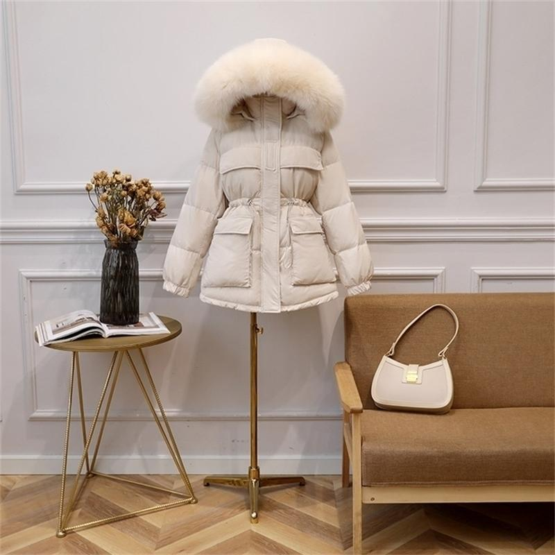 FitAylor Winter White Duck Down Jacket Mulheres Grande Collar Real Collar Capuz Parkas Curto Design Curto Slim Overcoat 201212