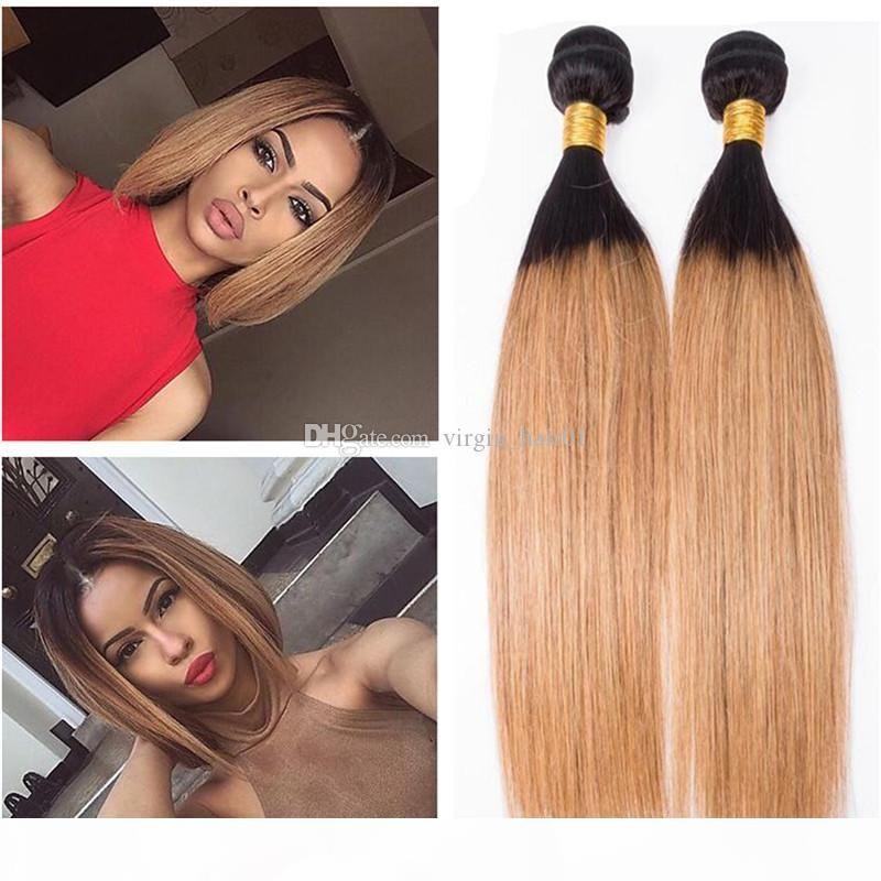 Grado 8A Brasiliano Honey Blonde Virgin Hair Weaves Two Tone 1b 27 Honey Blonde Dark Root Ombre Prolunghe per capelli umani 3 Bundles diritti