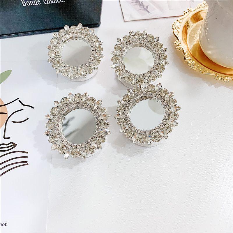 جديد نمط محلية الصنع الكورية رائع حجر الراين مرآة جوهرة حامل العالمي لاصق حامل الهاتف المحمول دعم متعدد الوظائف