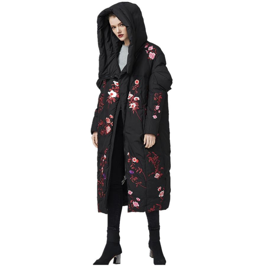 Can fit-30 winter coats embroidered thicker hot oversize white duck down female coat x-long thick heat parkas f627