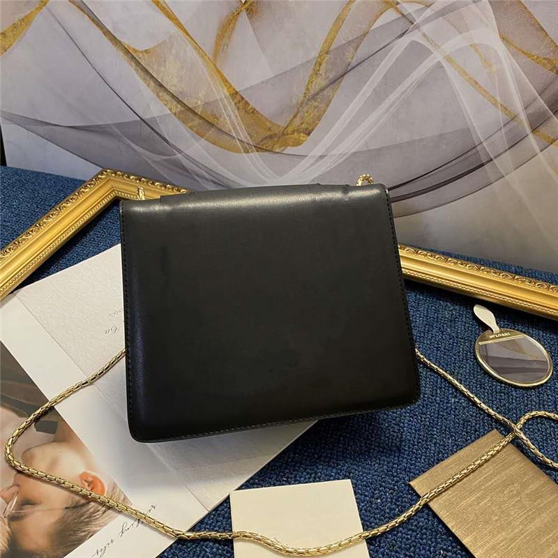 Luxurys Designers Bags Mags Head Bag Black Кожаные Женщины Дамы Штабренные Квадратные [] Сумки по течению Crossbody Двойная цепочка Ремень Сумки Кошельки