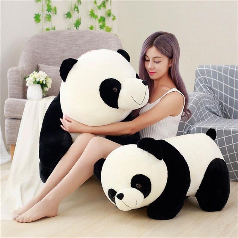 Bonito panda grande gigante panda urso pelúcia pelúcia animal boneca brinquedo travesseiro desenhos animados kawaii bonecas meninas presentes de natal 201214