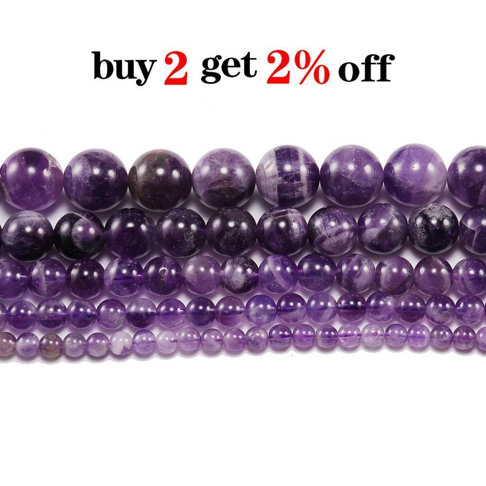 1trand lot 6 8 10 12 mm Dream Naturel Dream Purple Amethystes Cristal Pierre Crystal Perles rondes Perle d'espacement en vrac pour la fabrication de bijoux Bracelet H BBYNJV
