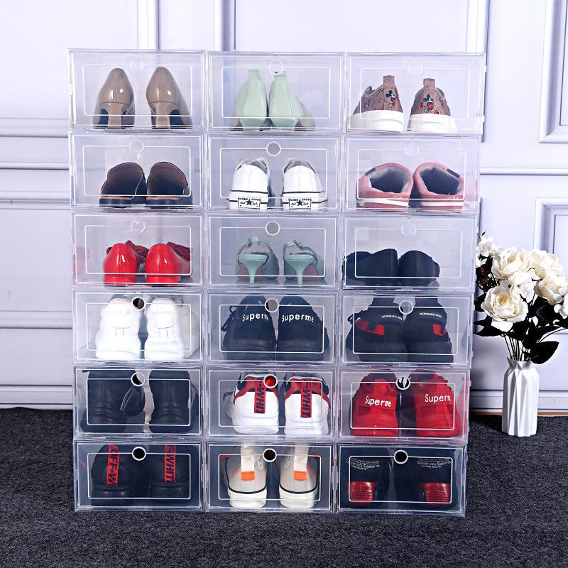 3/6 unids Espesado Caja de almacenamiento de zapatos transparente Organizador de cajones de plástico a prueba de polvo Combinación superpuesta de zapatos deportivos Zapatos Z1123