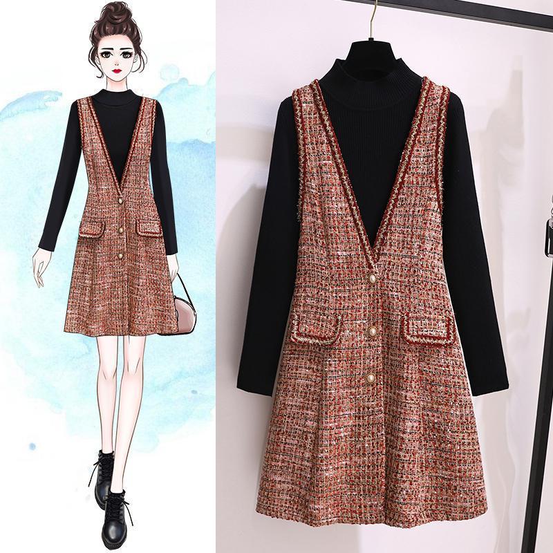 Sonbahar Yaş Azaltma Iki Parçalı Setleri Büyük Boy kadın Kazak + Yün Yelek Elbise V Yaka Tatlı Suit M-4XL