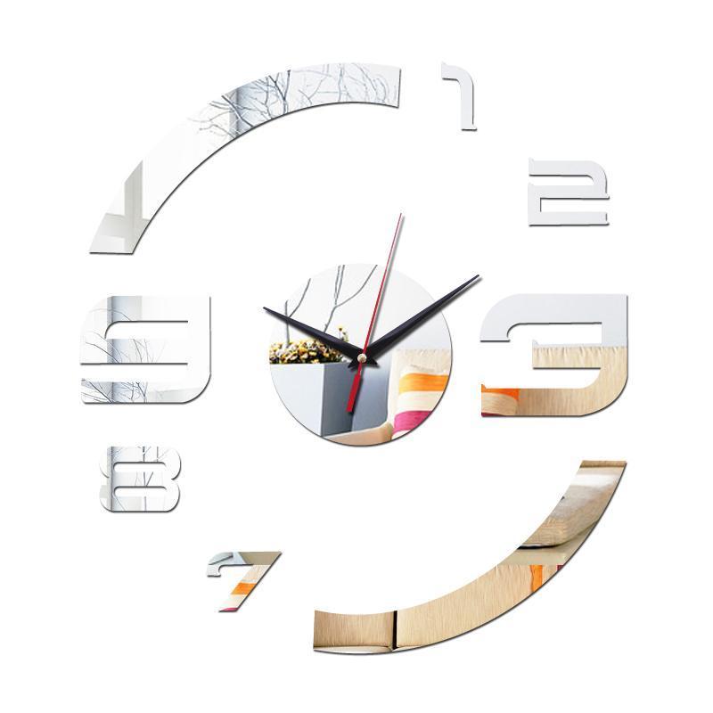 Novo Relógio de Parede Acrílico Espelho DIY Relógio Decoração de Casa Quartzo Relógio Relógio Agulha 3D Adesivos Sala de estar moderno