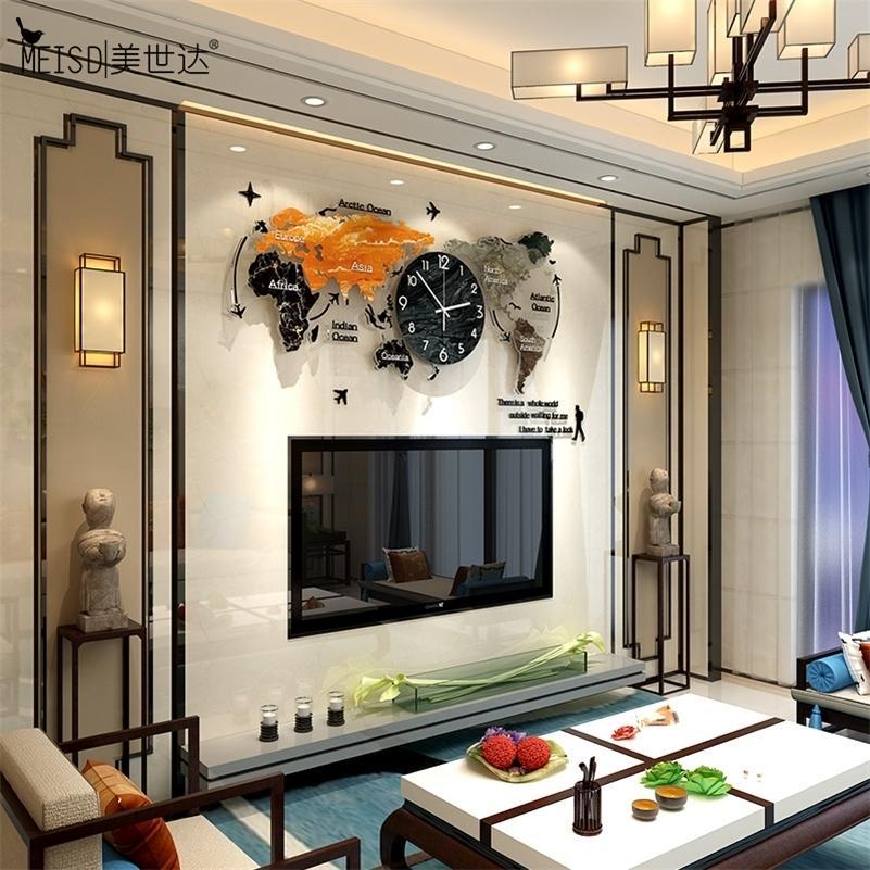 MEISD MEISD Grande Carte du monde Horloge Moderne Design Arrylic World Montre suspendue Chambre silencieuse de quartz Horloge Salon Livraison gratuite Lj201211