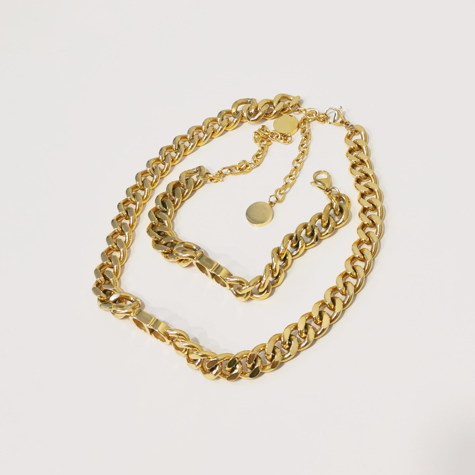 Novo designer de luxo jóias mulheres colares ouro grosso cadeia colar com d pingente de aço inoxidável bracelete colar conjunto de moda