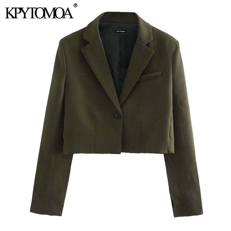 KPYTOMOA Kadınlar 2020 Moda Tek Düğme Kırpılmış Blazers Ceket Vintage Çentikli Yaka Uzun Kollu Kadın Giyim Şık X1214 Tops