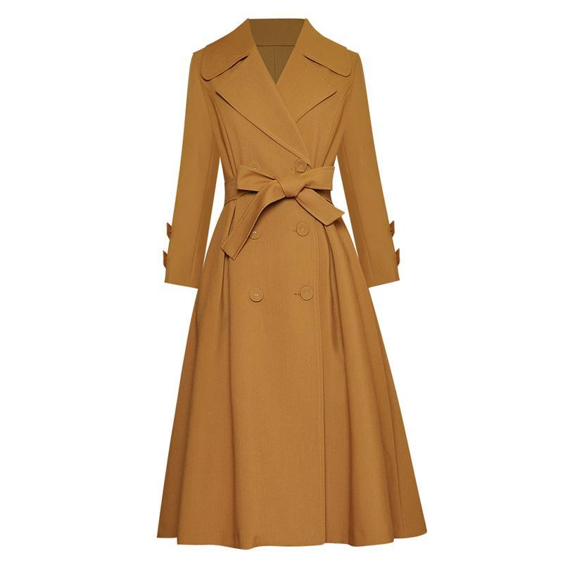 Solid Color Camel / Navy Blue Plus Size Women Trench Fall Winter Fashion Clothing Outfits Long Sleeve A-Line Long Coat
