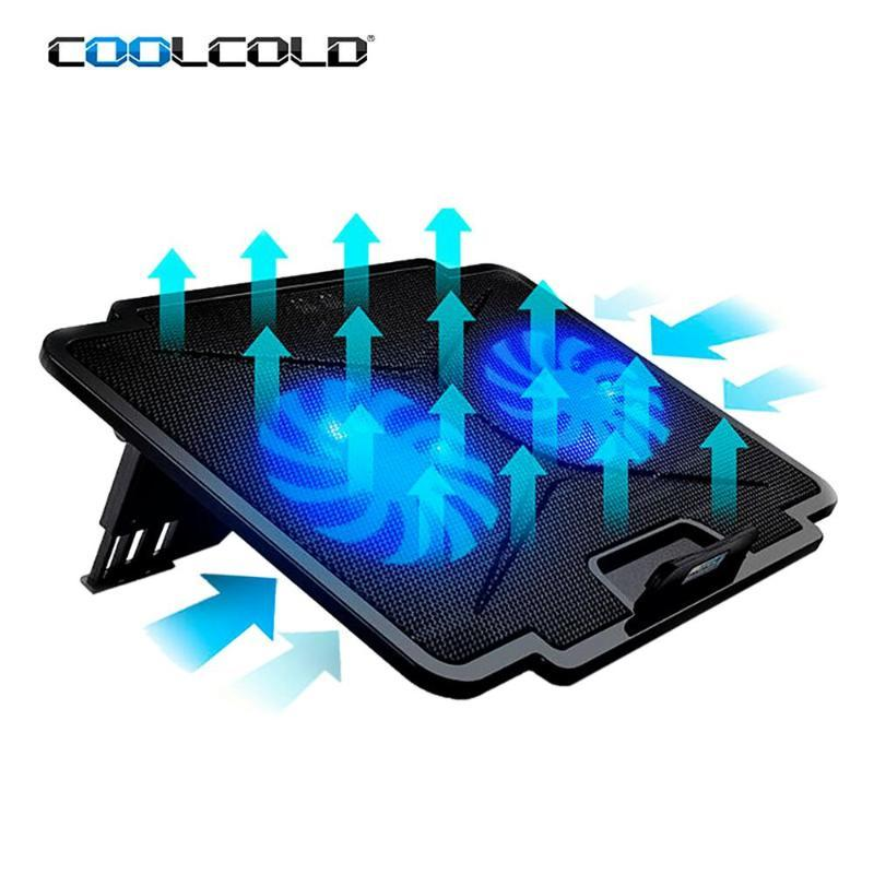 COOLCOLD Laptop Cooling Pad 2 USB 5 Adjustable Angles Cooler Fan Cooling Stand With Led Light For 11-15.6 inch Notebook Computer