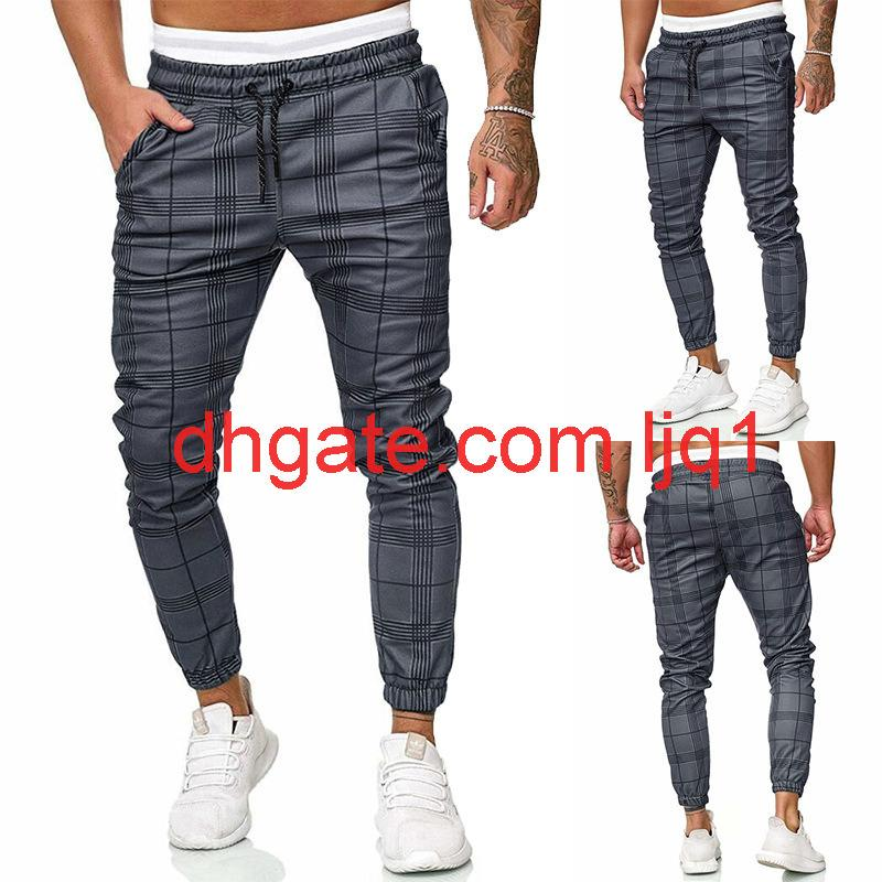 Männer Plaid Hose Lässig Mode Seil Elastische Taille Hosen Mittlere Taille Kleine Fuß Spitze Casual Hose