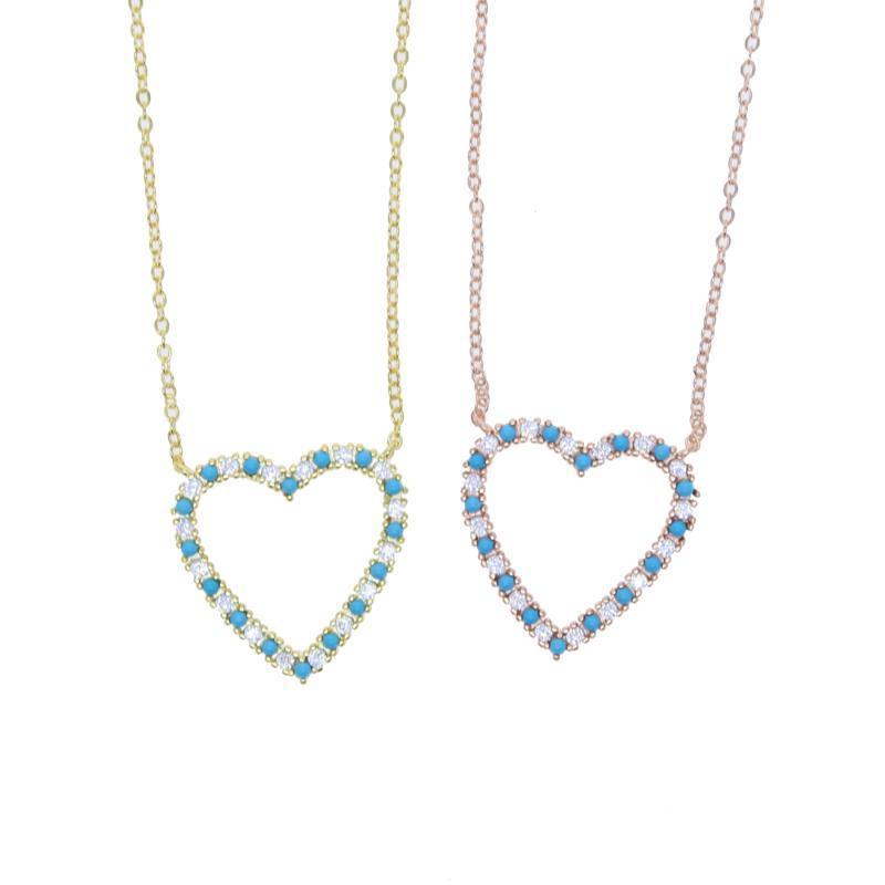 Classique Pendentif Coeur fin Choker couleur or blanc bleu cz Breloque Collier Saint-Valentin Amour Cadeau Femme Bijoux