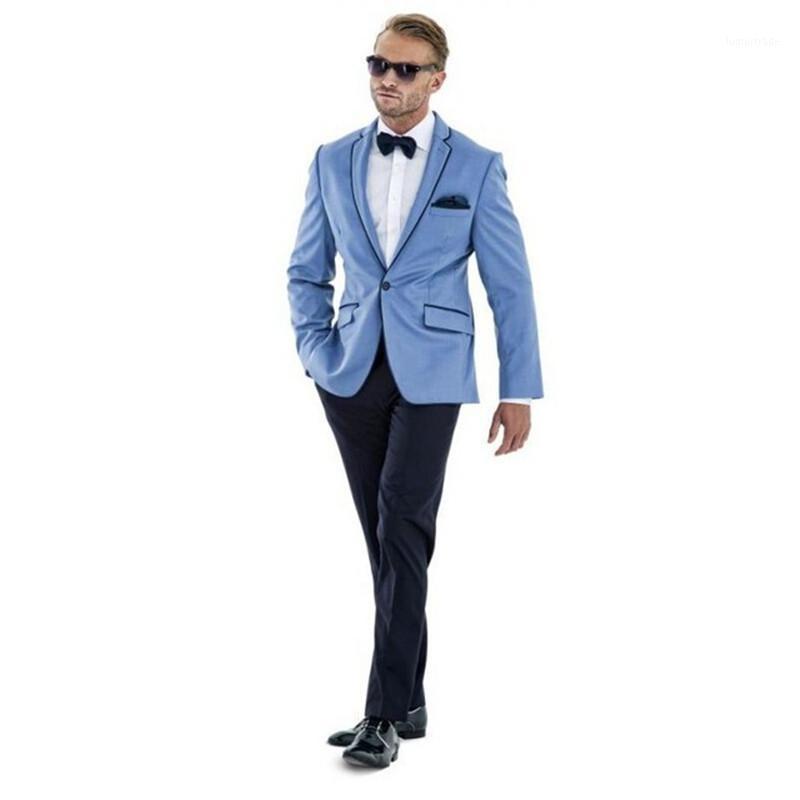 Мужские костюмы Blazers Custom Mens Mens Slim Fit Gooom Mounts Men Suit Tuxedos Blue Wedding Groomsman для (куртка + брюки + галстук) 20211