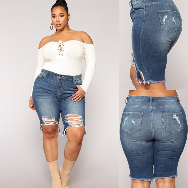 Дополнительные крупные горячие продажи женские брюки евраамериканской красной дыры