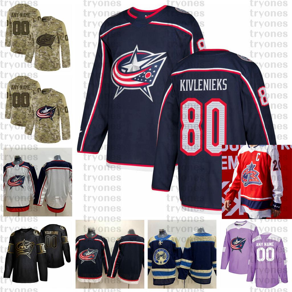 2021 inverse rétro Personnaliser 80 matisses Kivlenieks Columbus Blue Vestes Jerseys Édition Golden Camo Anciens Combattants Jersey de Hockey Cancer