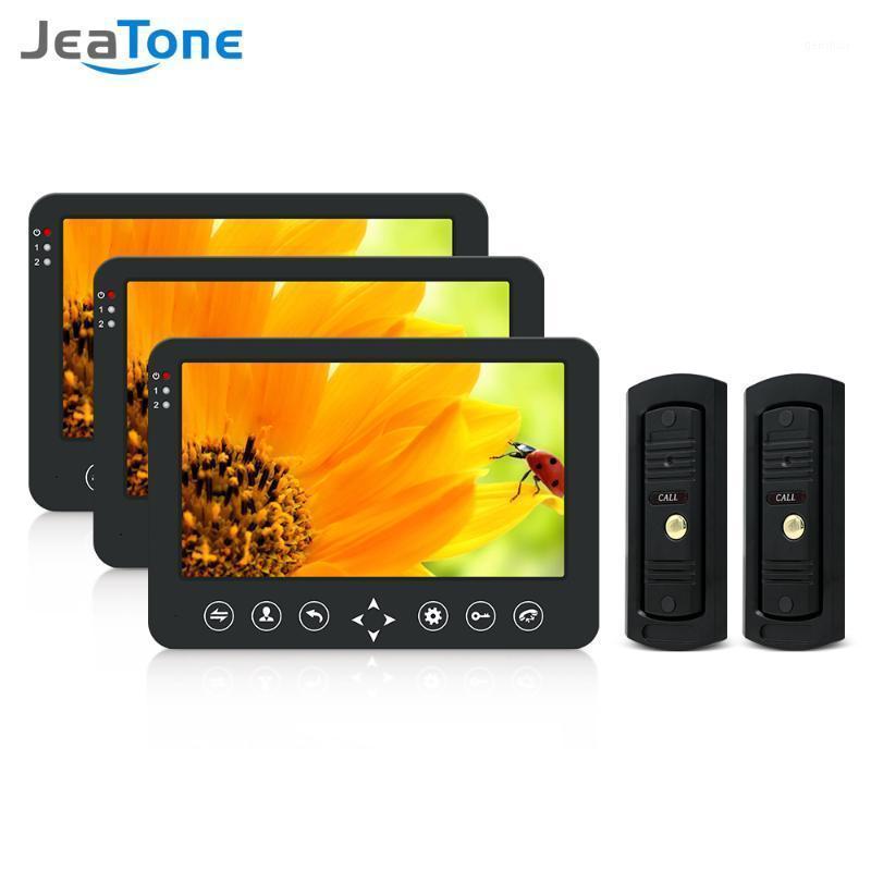Видео Дверные телефоны Jeatone 10-дюймовый интеллектуальный телефон Домофон с 3 монитором ночного видения + 2x960P Дождевая камера дверной звонки для Home1