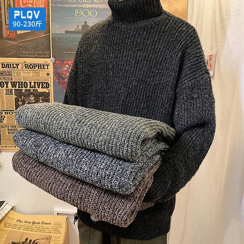 Camisolas masculinas de inverno grossa vara quente agulha suéter de pescoço de alto pescoço para estilo solto e preguiçoso t-shirt de cor pura pessoas gordas