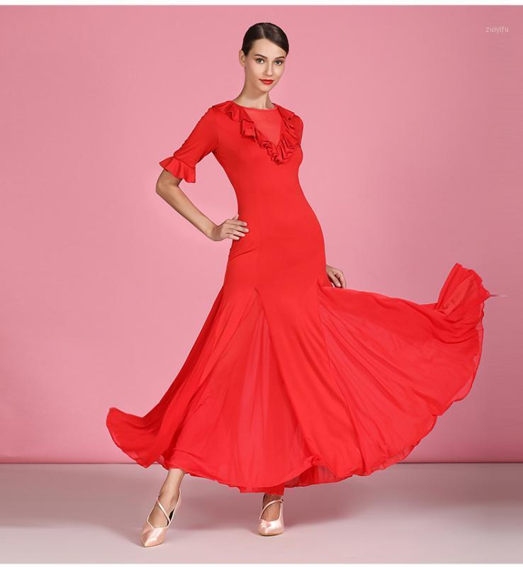 Sahne Giyim Kadın Modern Dans Etek Balo Salonu Eğitim Elbise Uygulama Kostümleri Waltz Tango Rumba Uzun Kollu Tam Etek S90611
