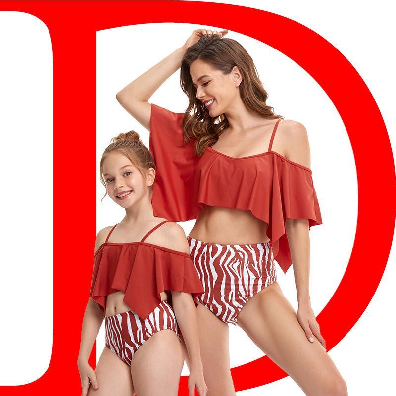 82Colour S-XL 2021 새로운 비키니 패션 섹시한 여자와 자식 4 코너 연꽃 잎 부모 - 자식 수영복 분할 수영복 34634103751106