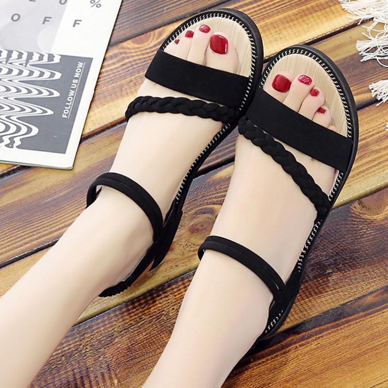 Sandals For Women 2020 Braid Flat Shoes Summer Sandals Women Elastic Band Beach Ladies Open Toe Roman Casual Shoes1