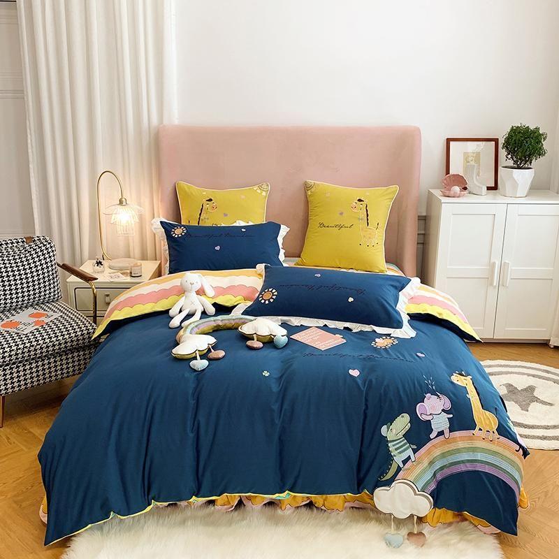 New Blue Cartoon Rainbow Elephant Giraffe Flower Embroidery 100% Washed Cotton Girl Bedding Set Duvet Cover Bed Sheet Pillowcase