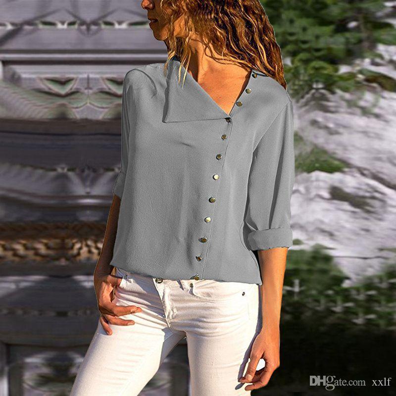 Neue Frauen Blusen 2020 Mode Down Kragen Büro Hemden Frauen Bluse Hemd Chiffon Casual Tops Plus Größe Blusas Femininas