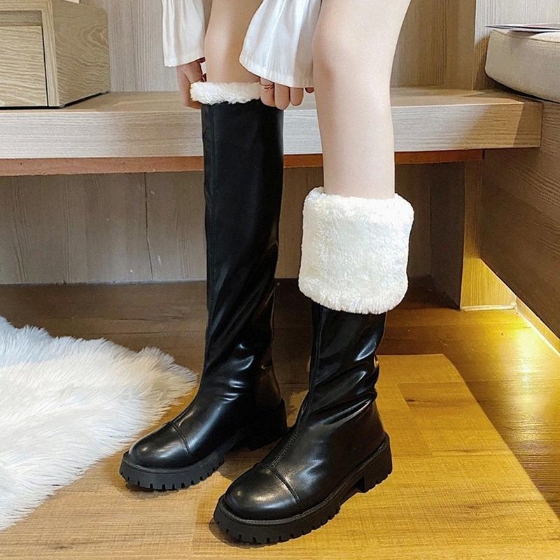 Rimocy Inverno Novas Mulheres Quente Joelho De Pelúcia Alta Botas 2020 À Prova D 'Água Pu Couro Longo Botas Femininas Deslize na plataforma de pele sapatos mulher # OV36