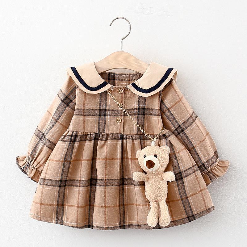 2020 Automne Neuf Baby Girl Robe Vêtements Toddler Filles Princesse Plaid Anniversaire Robes d'anniversaire pour bébé Vêtements 0-2y Vestidos