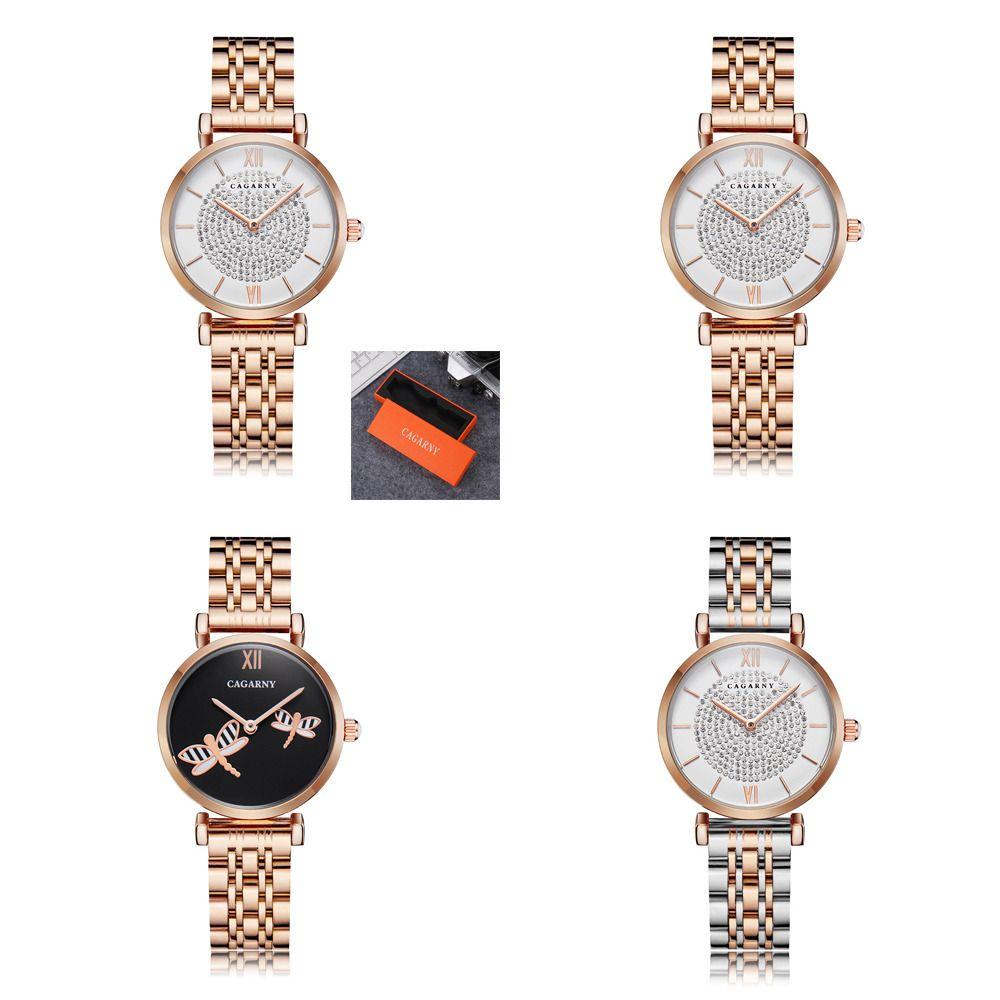 Dropshipping Rose Gold Edelstahl Armbanduhr Frauen Mode Womens Quarz Uhren Hip Hop Diamanten Damenuhr Weibliche J1205