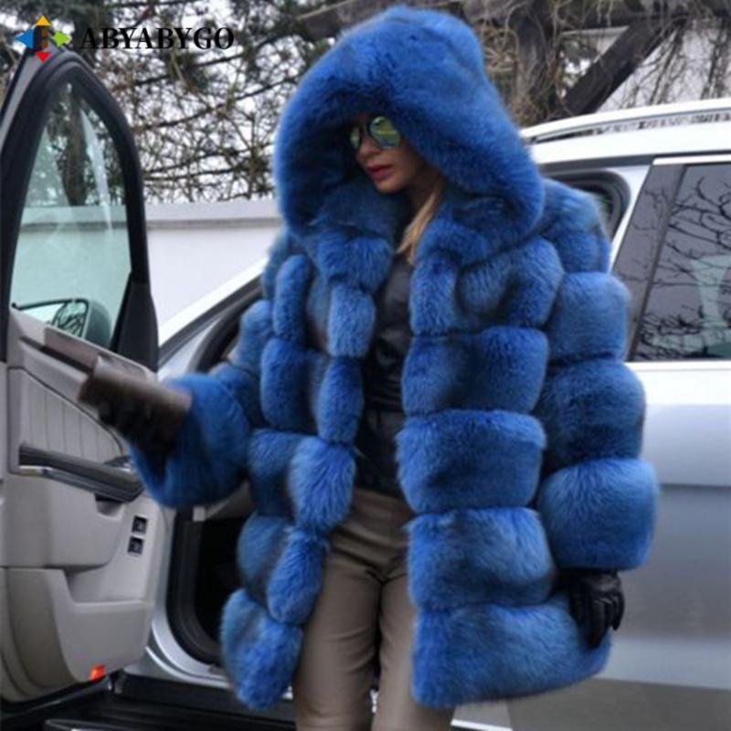 2021 الشتاء سميكة الدافئة فو الفراء معطف المرأة زائد حجم مقنع طويل الأكمام فو الفراء سترة فاخرة الشتاء bontjas فروي المرأة معطف