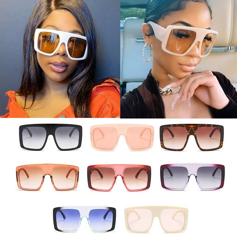 Atacado Oversize One Piece Square Mulheres Sunglasses 2020 Moda Vintage Big Shield Sol Óculos Homens Hip Hop Preto Branco Shades J1111