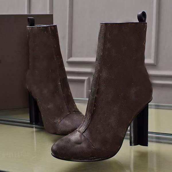 2021-Новые женщины роскошные на высоком каблуке Мартин сапоги зимний грубый каблук пустынные сапоги 100% натуральные кожаные сапоги на высоком каблуке Большой размер 35-42