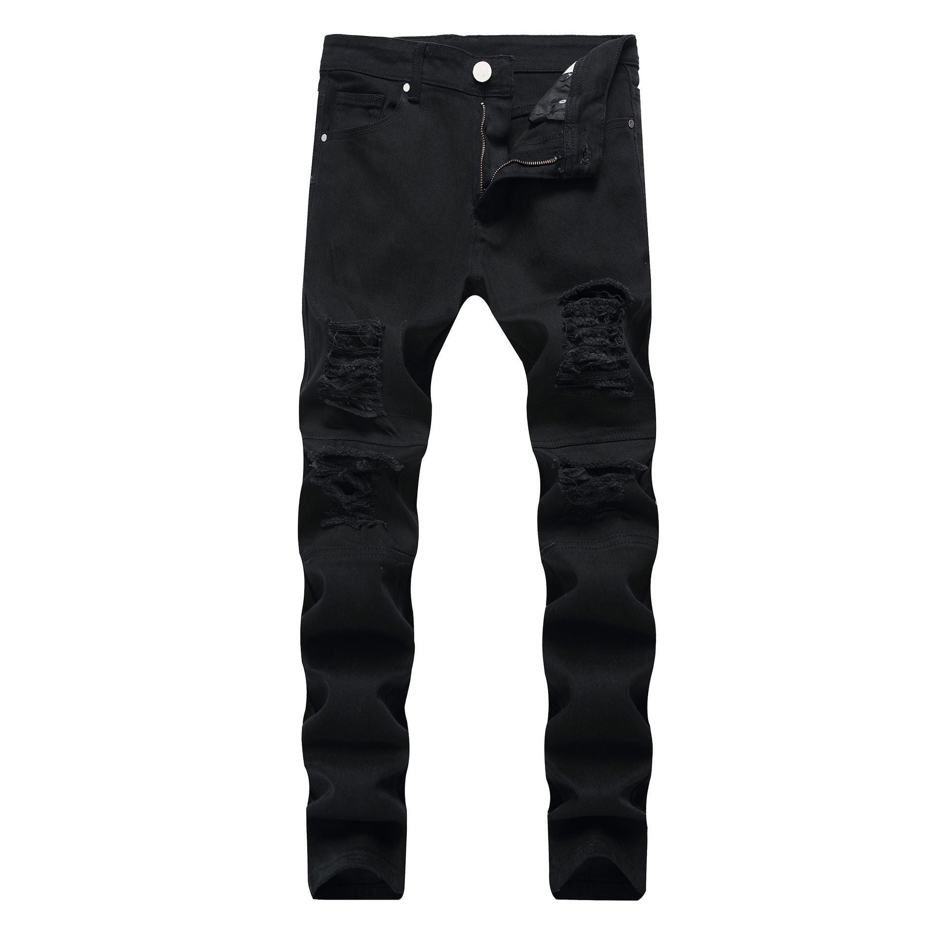 Sıska Erkek Siyah Kot Serin Erkekler Yırtık Delik Kot Streç Slim Fit Denim Biker Jeans Hip Hop Erkekler Streetwear 1820 #
