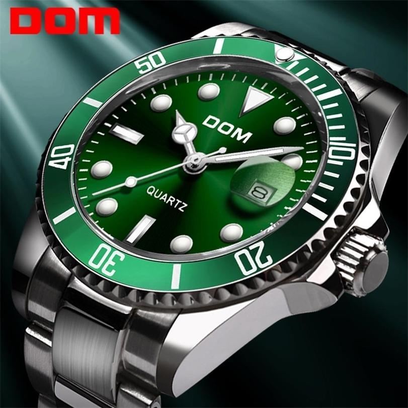 Dom Casual Negócios Relógios Homens Green Top Marca Luxo Sólido Sólido Relógio De Pulso Homem Relógio Moda À Prova D 'Água WristWatch M-1263 201210