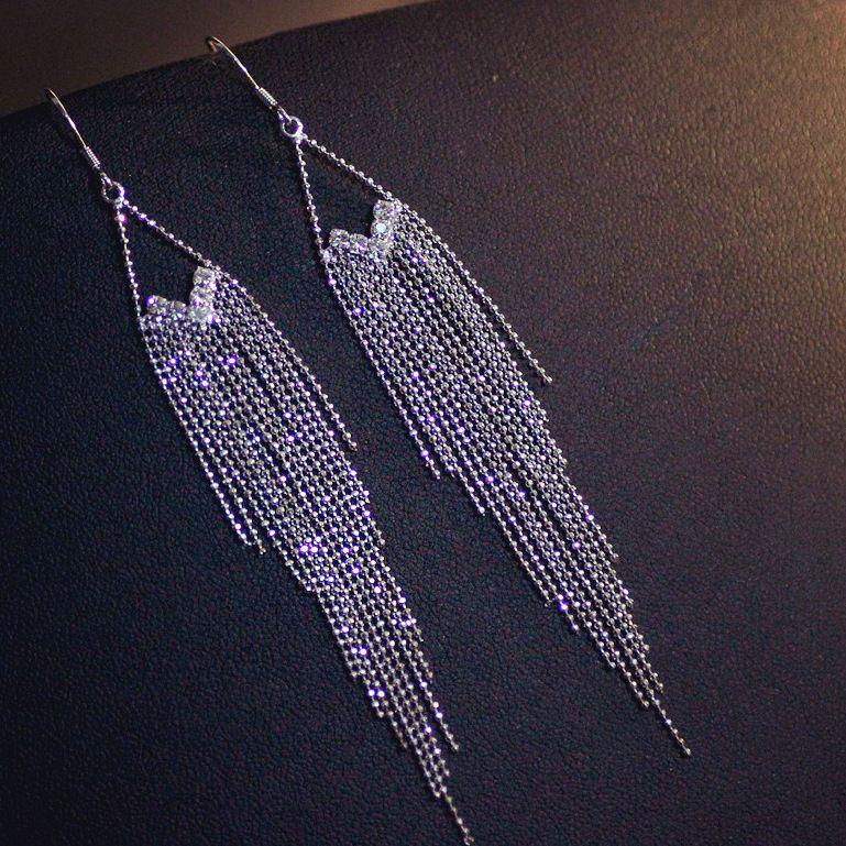 Versatile Fashion Earrings Anti Allergy 925 Sier Needle Nightclub Girl Tassel Long 88231