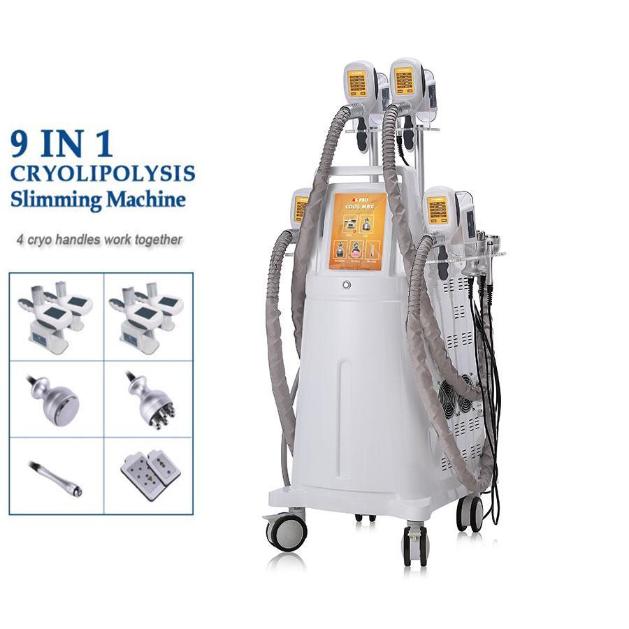 Cryolipolysis Yağ Donma Makinesi Kavitasyon RF Yağ Azaltma Lipo Lazer Zayıflama Makinesi 4 Cryo Başkanı Birlikte Çalışıyor