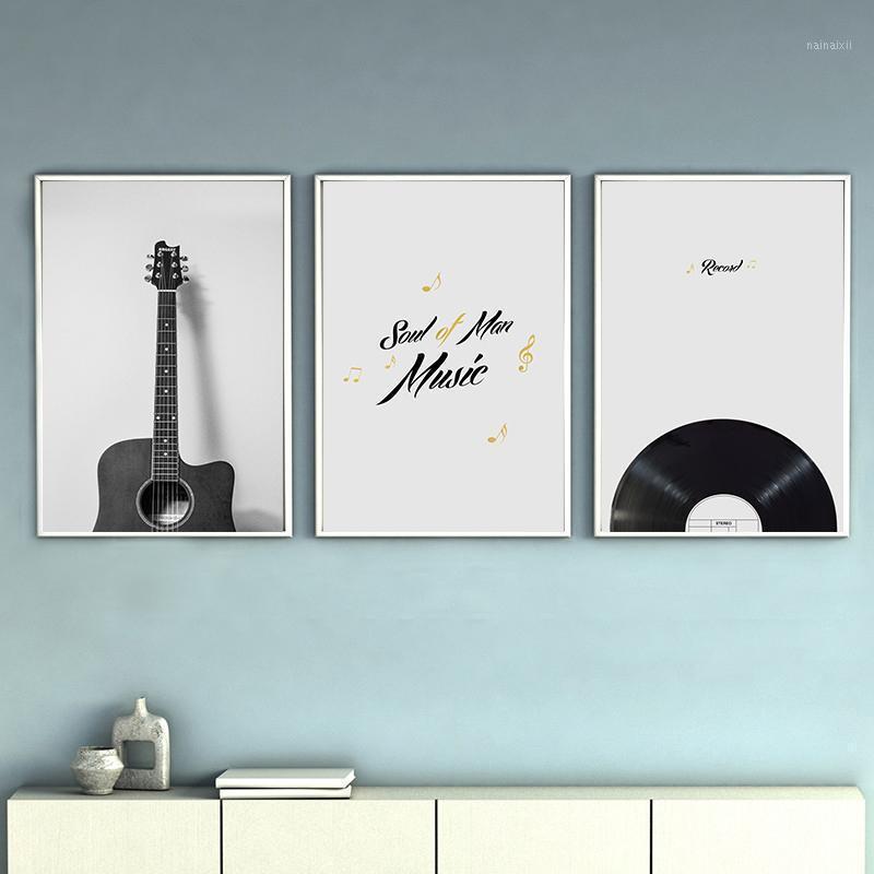 Vintage Enstrüman Gitar Radyo Tuval Boyama Posteri ve Baskı Oturma Odası Yatak Odası Duvar Sanatı Resim Ev Dekor Posterler1
