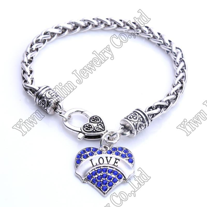Link Love trigo do coração bracelete de cristal Corações do metal Dança Arte Lobster Claw Pulseiras