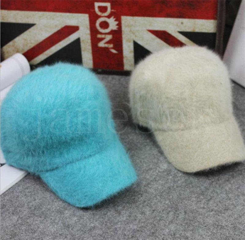 جديد الخريف والشتاء الأرنب الفراء الدافئة قبعة البيسبول الفراء النقي بطة اللسان قبعة الأزياء أفخم عارضة أزياء قبعة الأطفال DB325