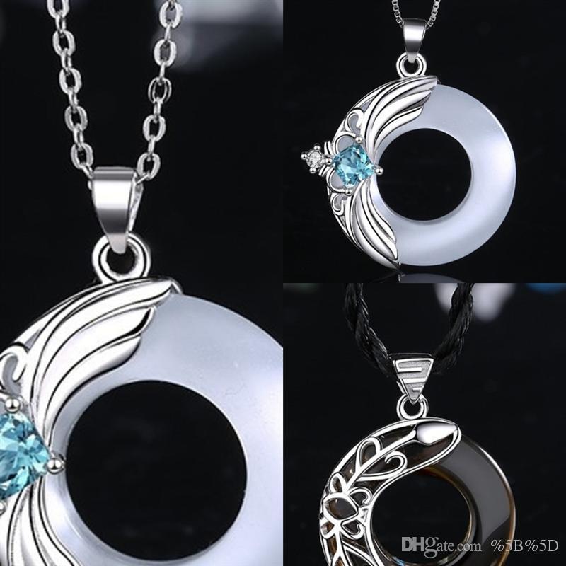 Qw0w Blue Evil Eye Cleance Ожерелье Роскошный Кристалл Человек Розовый Алмазный Черный CZ Клавишечный Ожерелье Серебряные Ожерелье Золотые Ювелирные Изделия Третий глаз Циркон